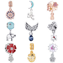Fresh Style Flower Wing Cupid Animal Crystal Heart Pendants Charms Fit Original Pandora Bracelets Bangles Making Jewelry Gifts(China)