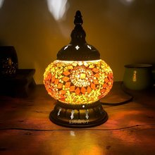 2018 Newest E14 Hand-inlaid glass mosaic bedroom living room decorative Night Lamps of Mediterranean style Turkish Lamps(China)