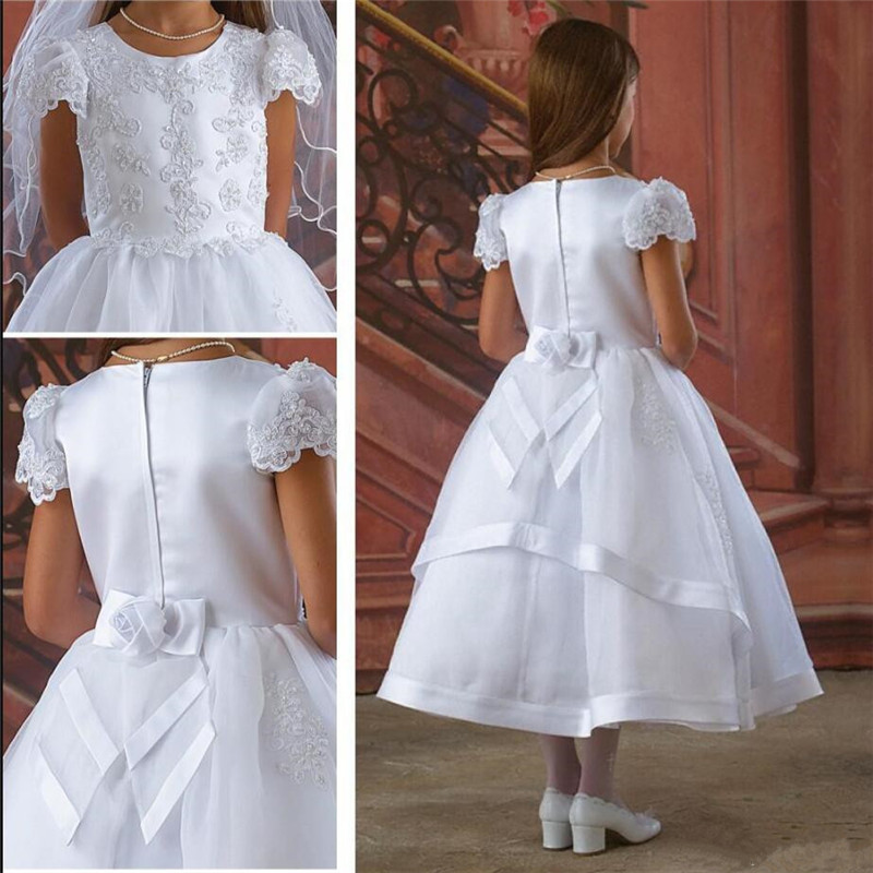 Newest Princess   Dress   with Cap Sleeves Appliques Beading Satin   Flower     Girl     Dress   For Wedding Vestidos De Fiesta Tea Length Longo
