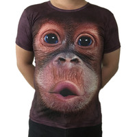 Plus-größe S-5XL 3D T-shirt Mens Heißer 2017 Sommer Tier lustige gorilla Gedruckt T-shirts Männer Casual-marke t-shirt AA0094