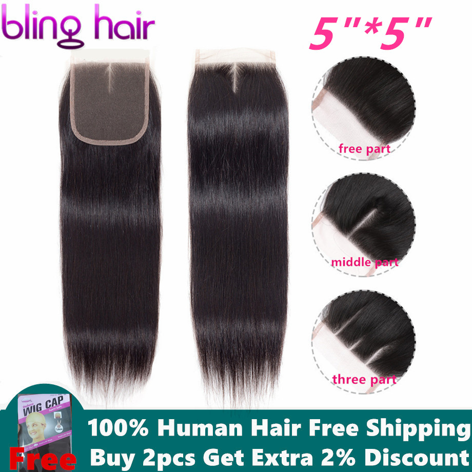 "Bling Hair 5x5 Brazilian Straight Hair Closure With Baby Hair Free/Middle/Three Part 100% Remy Human Hair 8""-22"" Natural Color(China)"