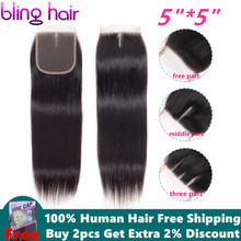 Bling Hair 5x5 Brazilian Straight Hair Closure With Baby Hair Free/Mid