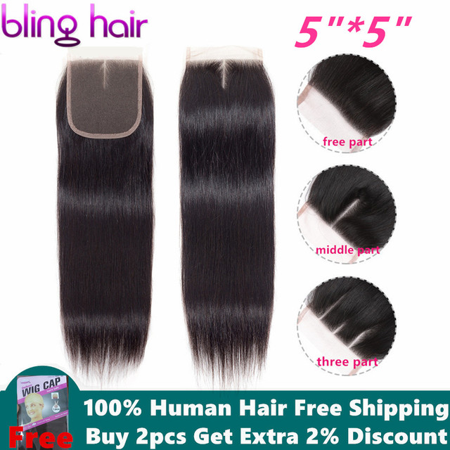 Bling Hair 5x5 Brazilian Straight Hair Closure With Baby Hair Free/Middle/Three Part 100% Remy Human Hair 8