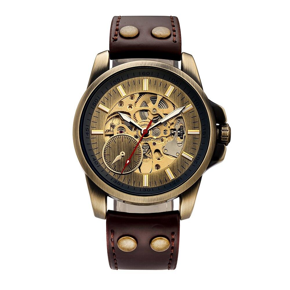 Men Mechanical Watch Automatic Watch Skeleton Self Winding Men Watches Bronze Leather Steampunk Transparent Wristwatch Clock Men 2
