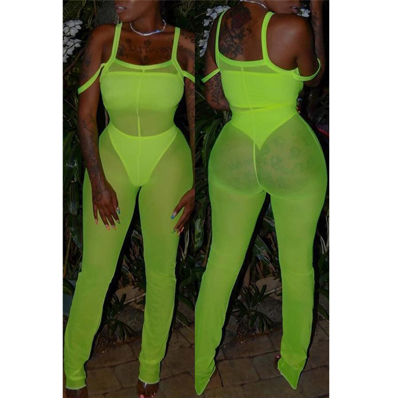 Fashion Sexy Women Strap Sleeveless Bodysuit Pure Color Slim Jumpsuit Mesh Perspective Romper Evening Club Party Wear Summer