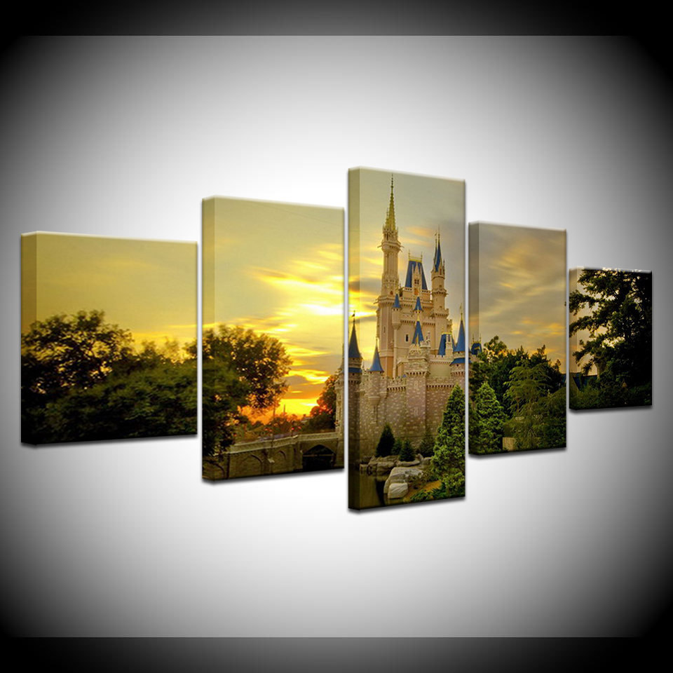 5 Pieces Printed cinderella castle Paintings Wall Art Canvas Modular ...