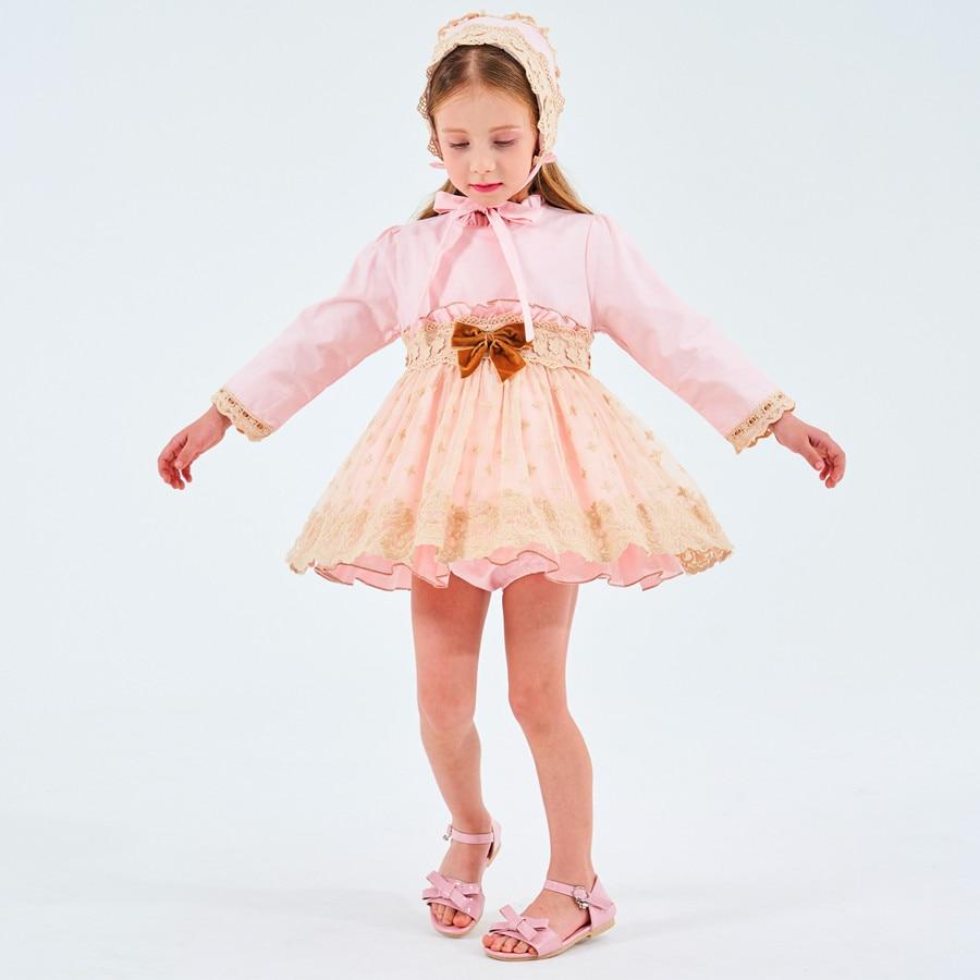3021260bb0f3 Spagnolo Vestito Dal Bambino per le Ragazze Della Principessa Del Partito  Brithday Abiti Ragazza Battesimo Bambini Vestito Rosa Robe Fille Dei Vestiti  Dei ...
