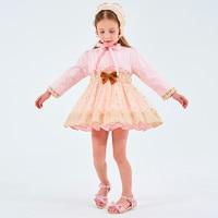 Spanish Baby Dress for Girls Princess Brithday Party Dresses Girl Christening Kids Dress Pink Robe Fille Children Clothing 3PCS