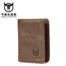BULLCAPTAIN 2018 High Quality New Arrival Genuine Leather Men Wallet wallet Vintage Male Short Coin Purse wallet for money