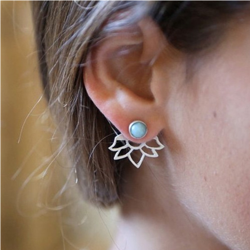 Fashion Design Earrings for Women Hollow Out Leaf Flower Stud Earrings Simple Metal Ear Jewelry ...