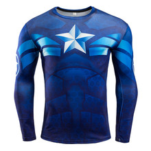 2017 New Men Fitness Compression Sport Shirt Tops Captain America Long Sleeve 3D Printing T-Shirt Gym Running Bodybuilding Shirt