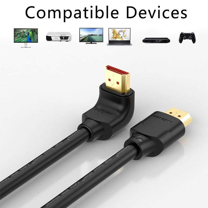 Image 4 - SAMZHE 4K HDMI 2.0 Cable 90/270 Degree Angle HDMI to HDMI Cable 2K*4K 1M 1.5M 2M 3M 5M 1080P 3D for TV PC Projector PS3 PS4