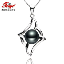Feige New Design 925 Sterling Silver Necklaces Pendants 8 9mm Black Freshwater Cultured pearls for Women