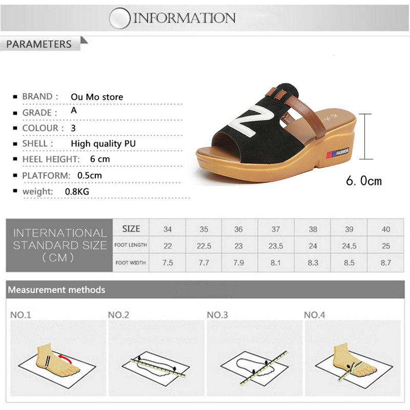Ou Mo 2019 summer women s sandals Wedges High heels Fashion casual Thick bottom Women 39 s shoes Student girl sandals in Middle Heels from Shoes