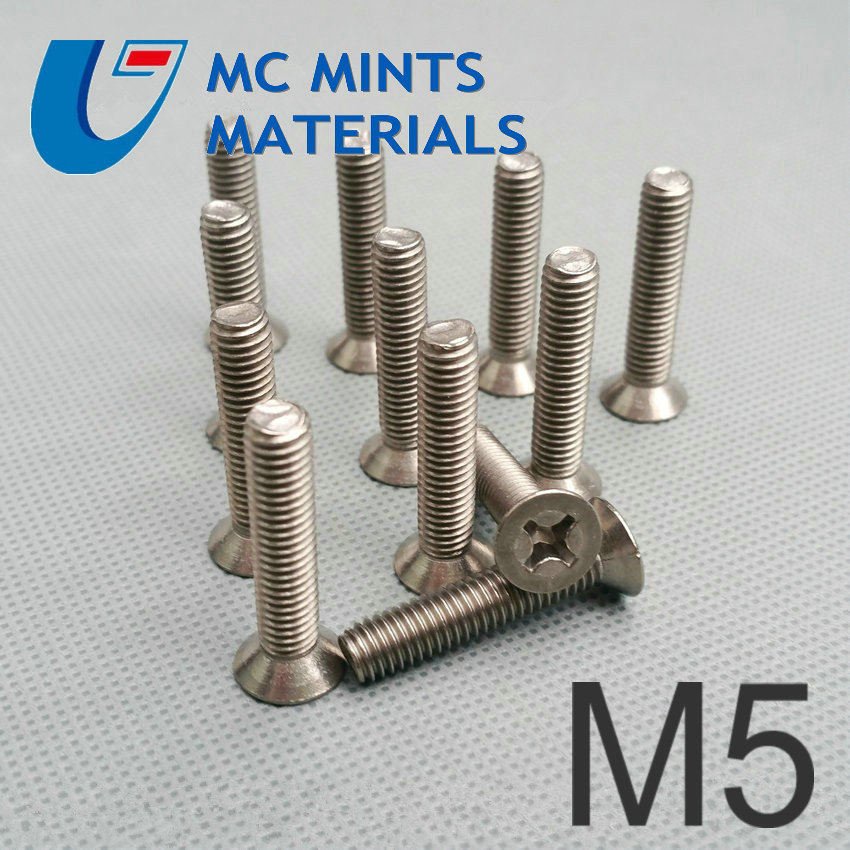 24pcs M5 x6 40mm Ti Bolt Titanium Bolt Flat Cross Head Original Ti Color Not Polished Grade 2 Titanium Screw Ti Fastener