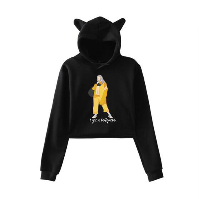 Billie Eilish Long Sleeve Crop Top Hoodie Kawaii Cat Ear Cropped Sweatshirt Women Tracksuit Casual Hooded Jacket Coat Outwear