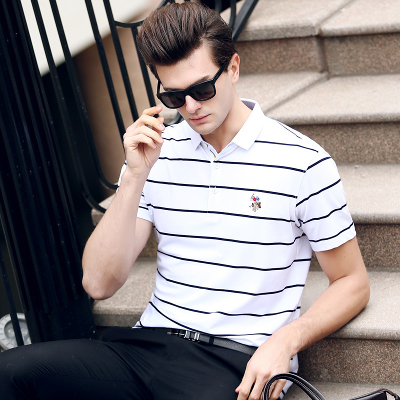 2018 men   polo   high quality summer brand men   polo   shirt Business casual solid   polo   shirt camisa   polo   Brand clothing striped plus