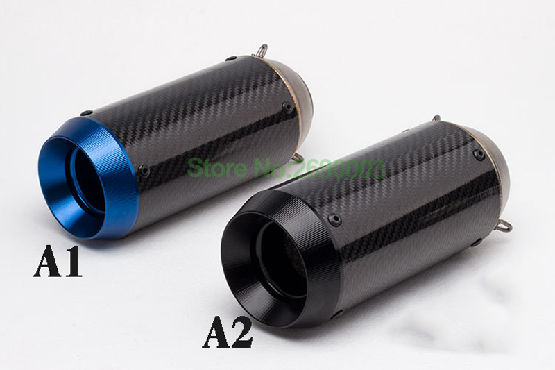 Universal Inlet 51mm Carbon Fiber Motorcycle Exhaust Pipe muffler Motorbike Muffler Escape with Removable DB Killer