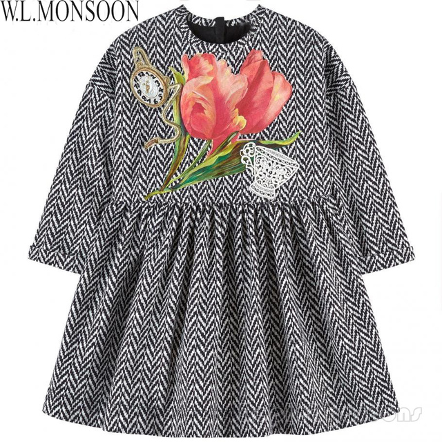 W.L.MONSOON Long Sleeve Girls Winter Dress Kids Clothes 2017 Brand Vestido Infantil Tulip Flower Children Dress Princess Costume