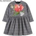W. l. monsoon vestido ropa de los cabritos muchachas de la manga larga de invierno 2017 de la marca infantil tulip flores vestido de los niños disfraz de princesa
