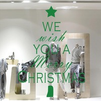 We With You A Merry Christmas Tree Wall Sticker For Festival Store Window Glass Wall Art Decals Poster Christmas Home Decoration