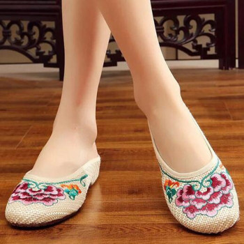 Special Offer Women's Summer Canvas Slipper Floral Embroider Breathable Casual Slides Flat Heel Walking Shoe Standard Size 3