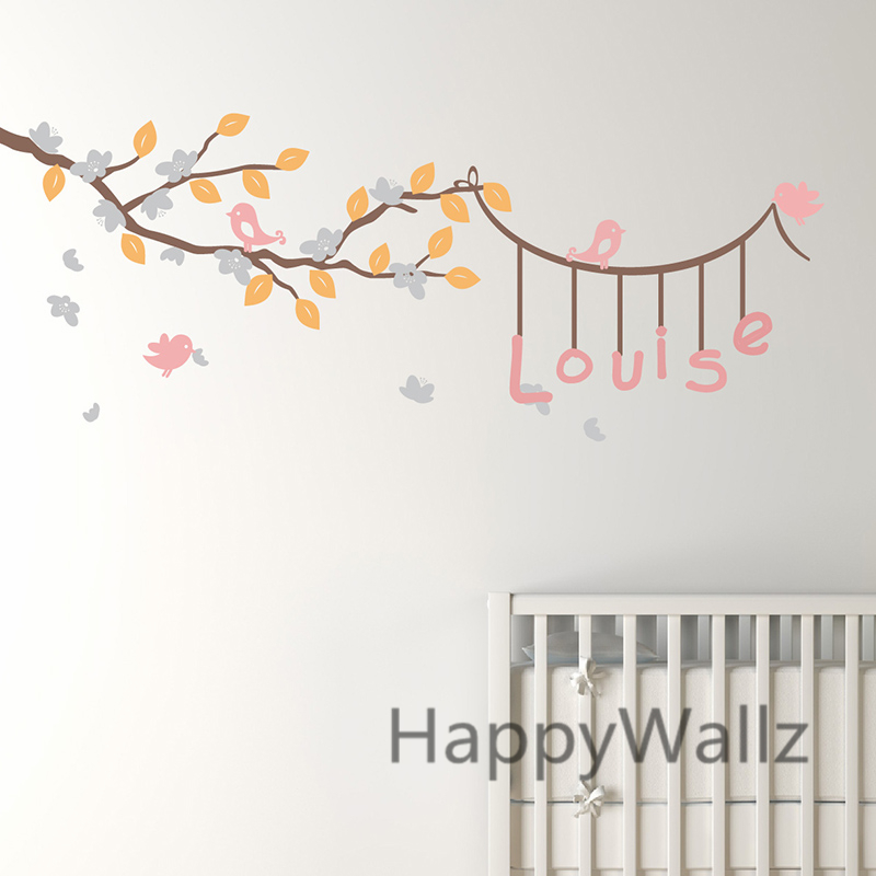 Baby nursery branch wall wall stickers diy name tree - Stickers x camerette ...