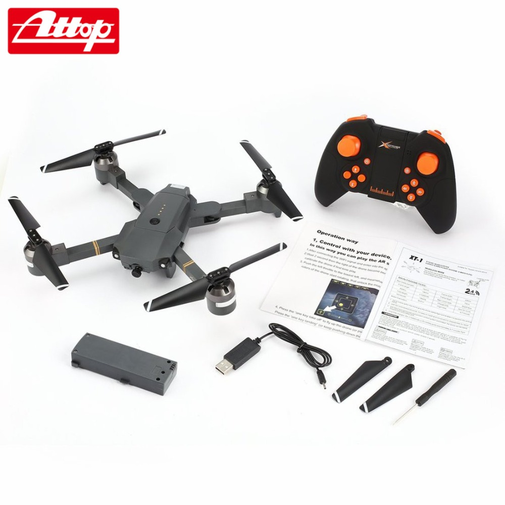 Attop XT-1 2.4GHz 6-axis Gyro Foldable Drone Wi-Fi 2MP HD Camera FPV RC Quadcopter with Headless Mode Altitude Hold 3D Flips hz attop xt 1 wifi 2 4g fpv drone camera 3d flip altitude hold foldable one key take off landing headless mode rc quadcopter