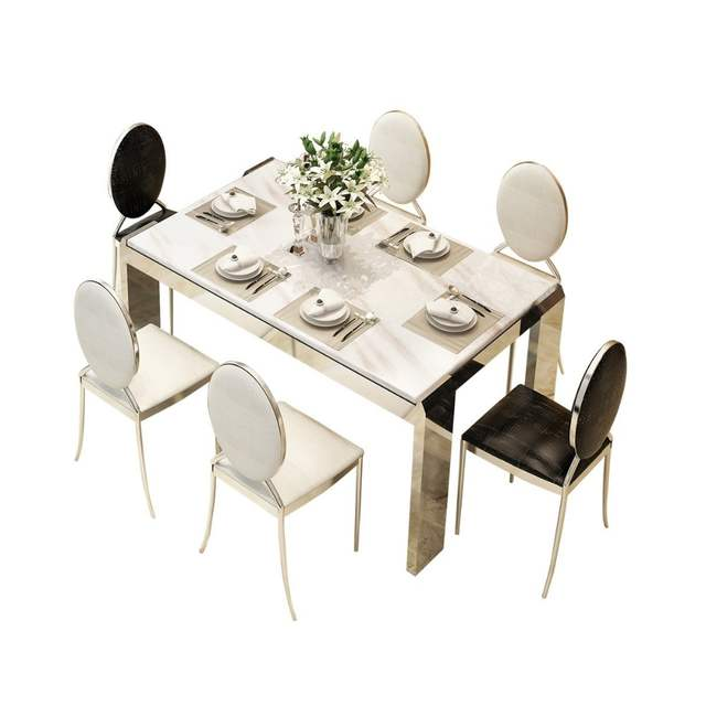 Amazing Rama Dymasty Stainless Steel Dining Room Set Home Furniture Modern Marble Dining Table And Chairs Rectangle Table Gmtry Best Dining Table And Chair Ideas Images Gmtryco