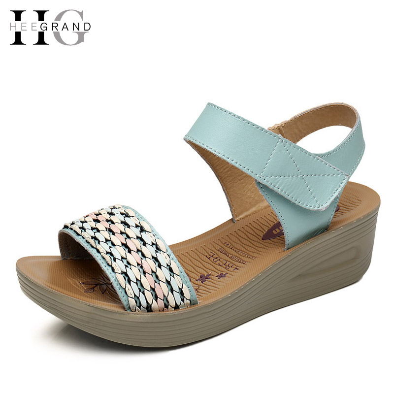 HEE GRAND Summer Shoes Woman 2017 NEW PU Leather Women Platform Wedges Casual Shoes Soft Slippers Size Plus XWZ3855 phyanic 2017 gladiator sandals gold silver shoes woman summer platform wedges glitters creepers casual women shoes phy3323