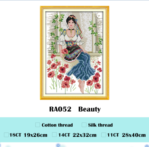 Beauty cross stitch kit aida 14ct 11ct count printed canvas stitches embroidery DIY handmade needlework