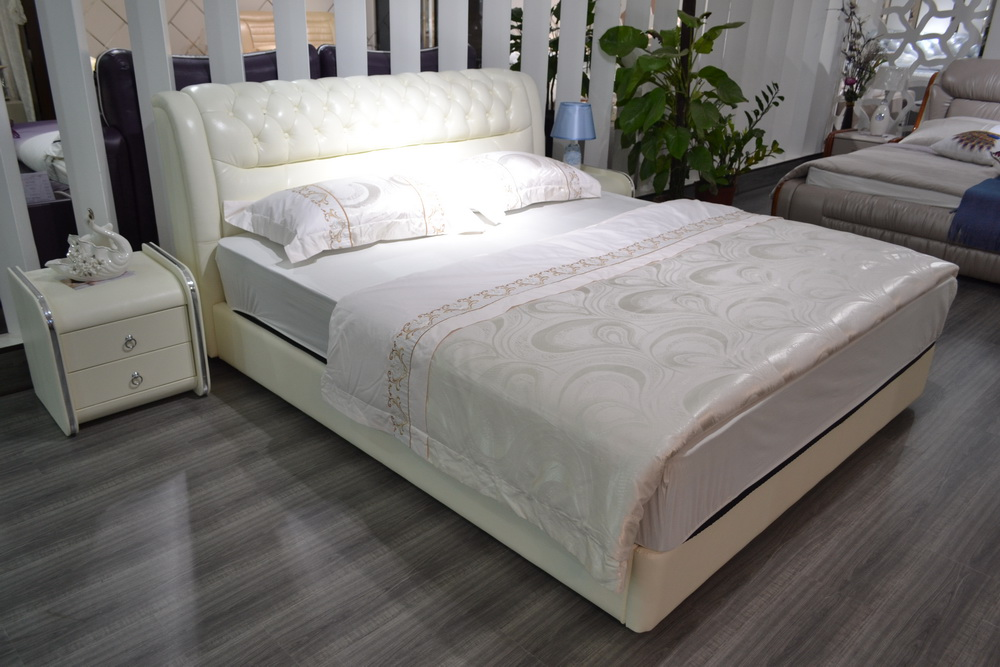 Buy soft genuine leather bed limited 2016 for Bedroom furniture offers