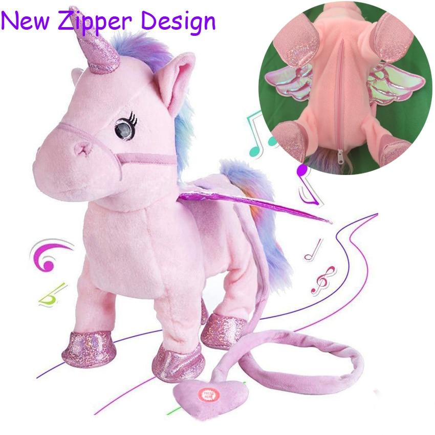 Magic Electric Walking Unicorn Plush Toy Stuffed Animal Toy Electronic Music Unicorn Toy For Children Christmas Gifts