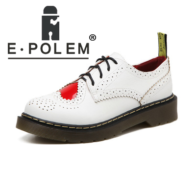 Spring Napa Pattern Women Brogue Shoes Heart Harajuku Lace Up White Leather Oxford Shoes Sewing Wearproof Low Platform Shoes