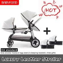 Bébé jumeaux poussettes remorquage bébé aspirateur pneu poussette Portable jumeaux Buggy Multi états pour ajuster doubles sièges spécial jumeaux landau