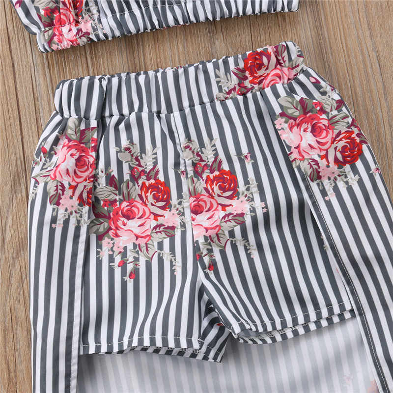 35ed70d72c10 ... Stylish Summer Girls Flower Clothes Set Fashion Baby Girls Ruffles  Blouse Tops+Long Skirts With ...