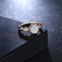 BOAKO Elegant Rainbow Opal Ring Fashion White CZ Wedding Jewelry Rose Gold Filled Engagement Promise Rings for Women anillos  5