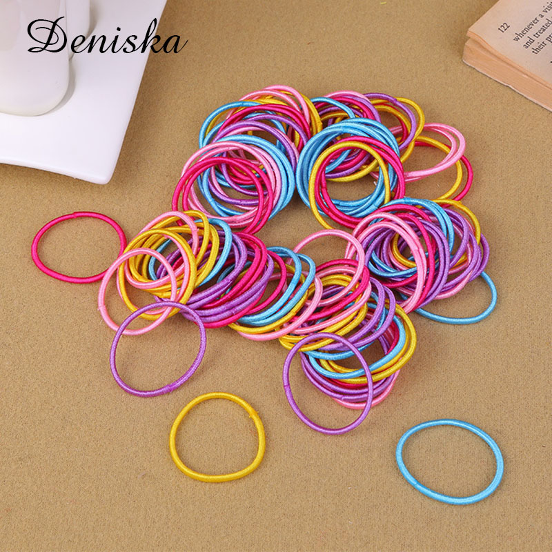 100pcs/lot Hair Bands Ponytail Holder Rubber Bands Hair Elastic Accessories Girls Women Multicolor Tie Gum 2017 Hot Sale  5pcs lot new kids small hair ropes candy colors elastic hair bands rubber bands girls ponytail holder hair accessories tie gums