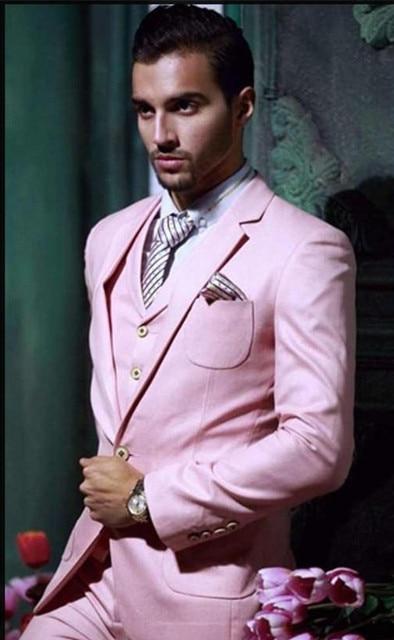 Custom Made Beau Un Bouton Rose Marié Smokings Revers Cran Meilleur Homme  Groomsman Hommes Costumes de eeb05804244