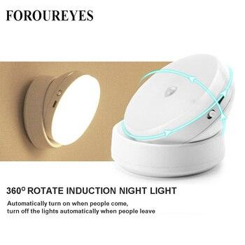 LED Night Light 360 Degree Rotating PIR Motion Sensor Lamp 6 LEDs lighting for Wardrobe Cupboard Closet Kitchen night light 1