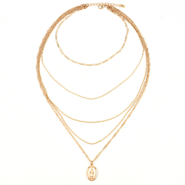 Vintage Virgin Multilayer Pendant Long Chain Necklace