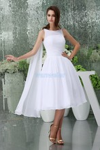 free shipping modest 2013 new hot custom size short formales chiffon plus bridal dress cap sleeve white Bridesmaid Dresses