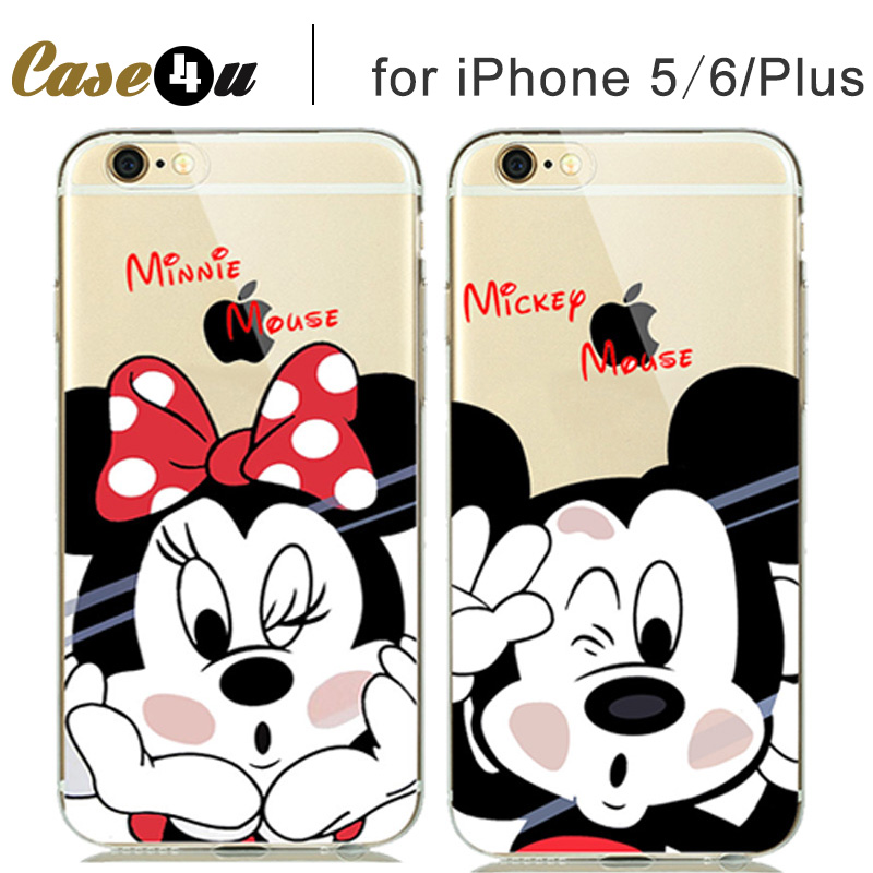 Cute Transparent Logo Clear Case Soft Cover for fundas iPhone SE 5S 6 6S 7 7 Plus Silicone Mickey Minnie Mouse Donald Daisy Duck