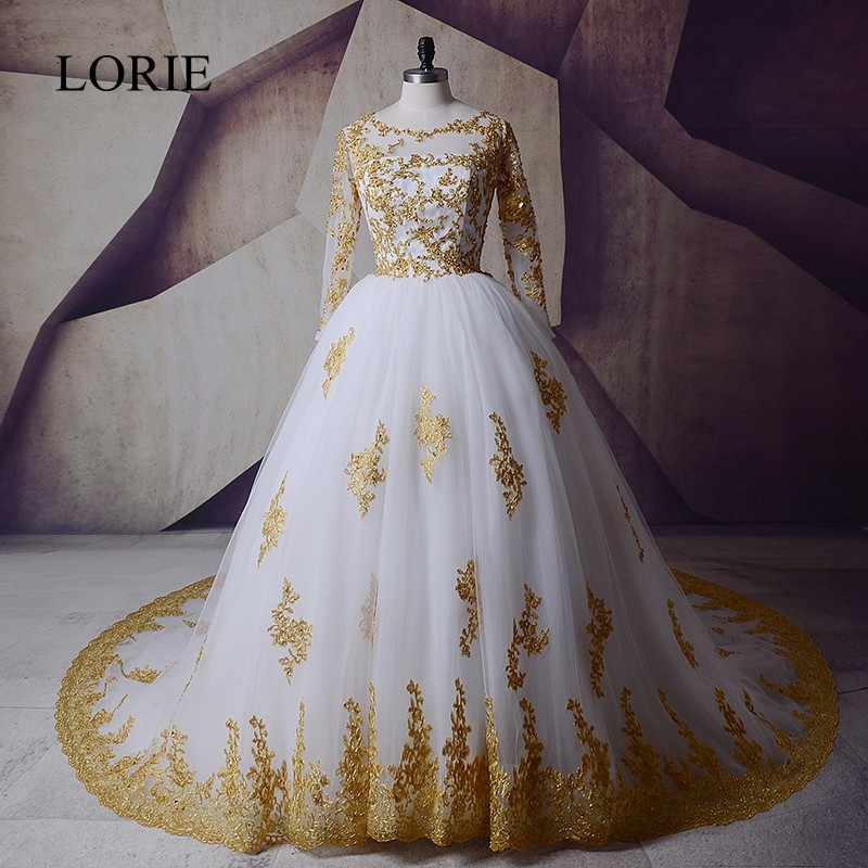 Luxury African Wedding Dresses White And Gold Long Sleeve Muslim