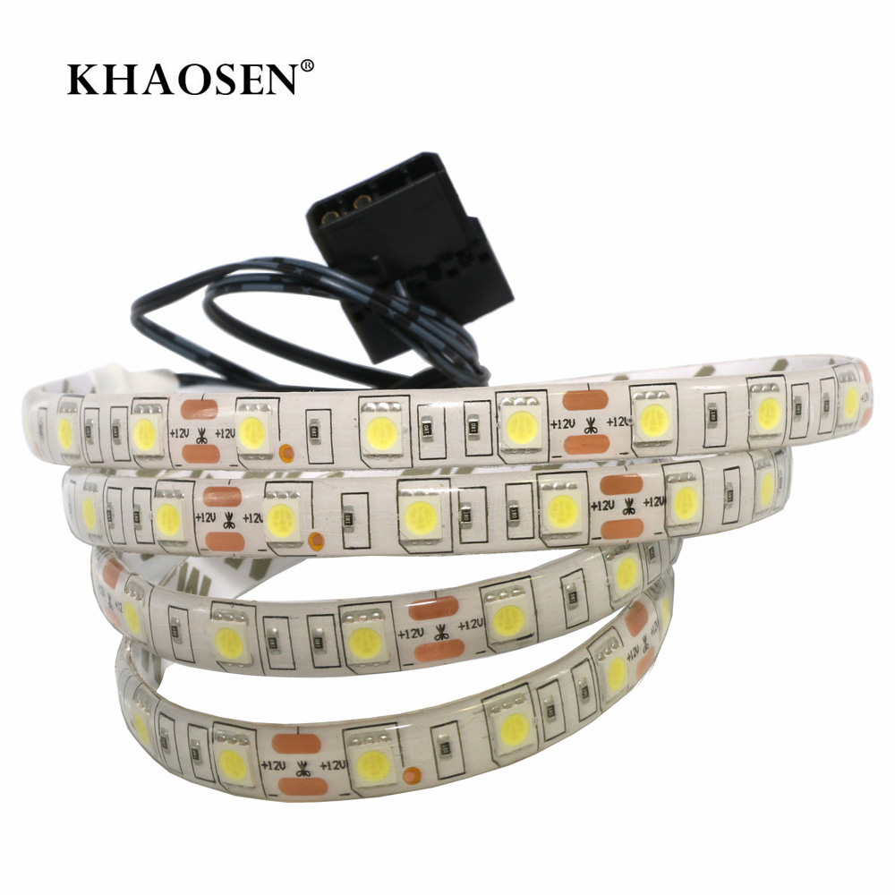 Computer Case Adhesive Tape Light 5050 SMD Flexible LED Strip 12V PC Background Light Ice Blue Red Yellow Green RGB Color Change