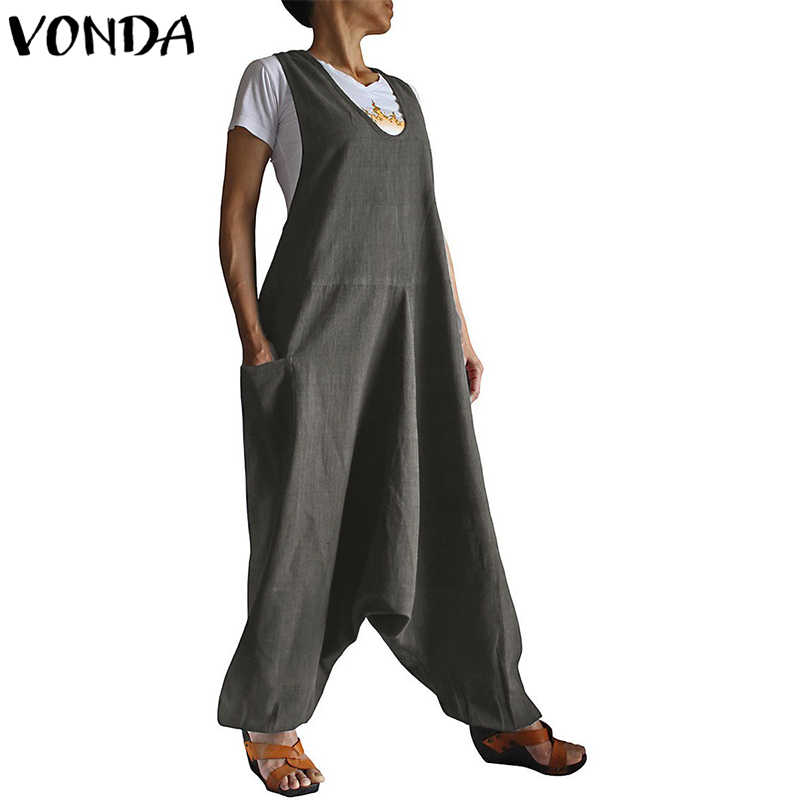 ... VONDA Rompers Womens Jumpsuit 2018 Fashion Harlan Pants Trousers Casual  Loose Sleeveless Playsuits Pockets Overalls Plus ... fb59948f3123