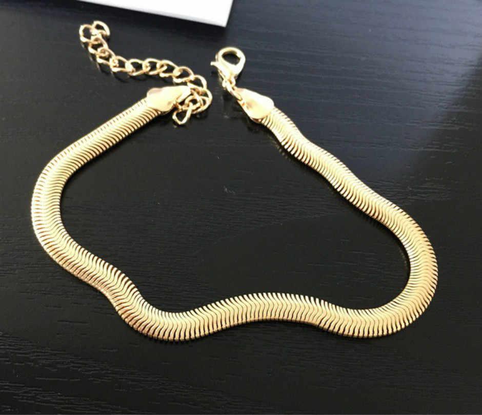 Escamas de pescado fino tobillera para hombre Cadena de cobre temperamento moda tobillo joyería de Metal cadena fina serpiente cadena mujer tobillera