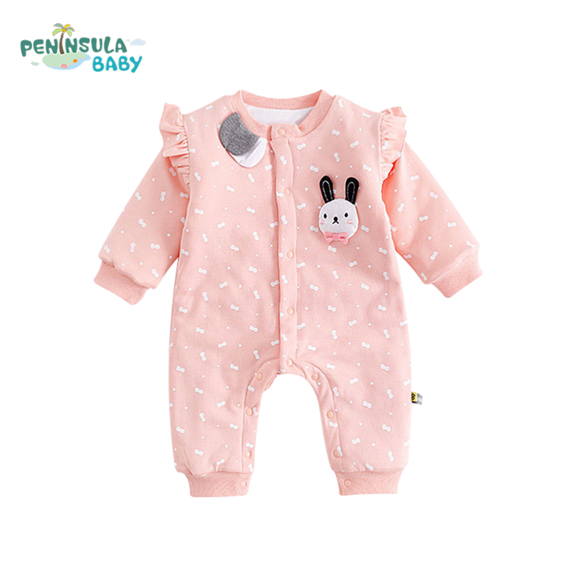 Baby Girls Boys Autumn Winter Clothing Toddler Overalls Cartoon Rabbit Cotton Infant Rompers Newborn Baby Long Sleeves Jumpsuit baby climb clothing newborn boys girls warm romper spring autumn winter baby cotton knit jumpsuits 0 18m long sleeves rompers