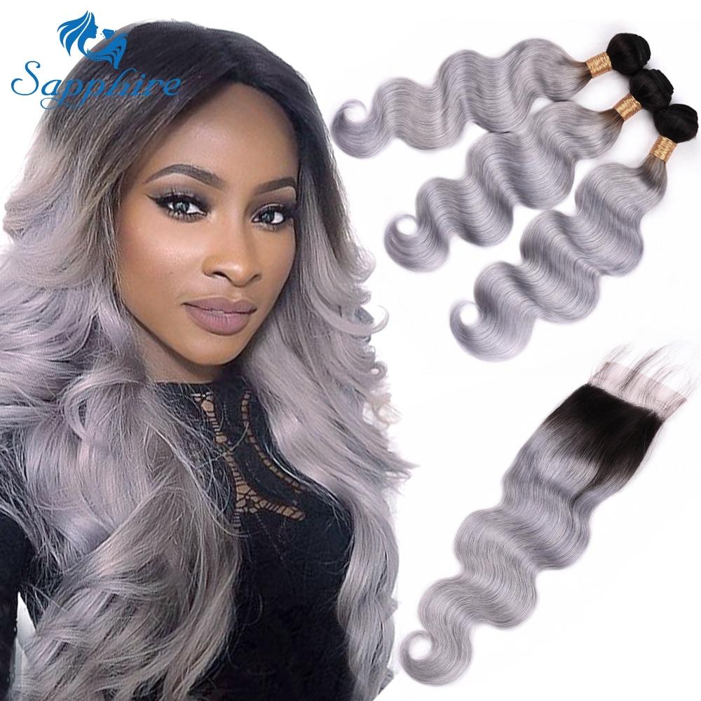 Saphir 1B/gris Ombre cheveux paquets avec fermeture 3 malaisiens corps vague cheveux paquets avec fermeture à lacet Remy Extension de cheveux