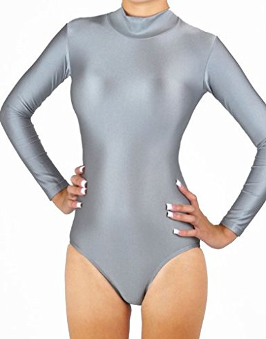 Women Gray Long Sleeve Gymnastics Leotards Ballet Dance Leotards Adult Lycra Spandex Swimsuit Zip Stretch Dancewear Ballet Suits